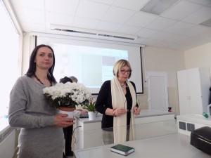 Vilniaus sk. pirm. Eglė Prieskienienė ir dr. Ina Dagytė Mituzienė auditorijos atidaryme